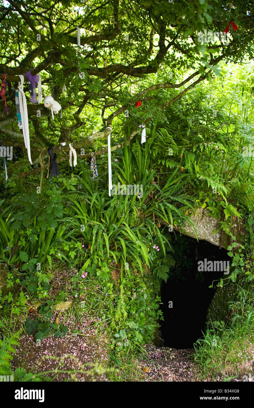 Ancient stone age celtic holy well with clouties near Sancreed West Penwith Cornwall England United Kingdom UK Great - Stock Image
