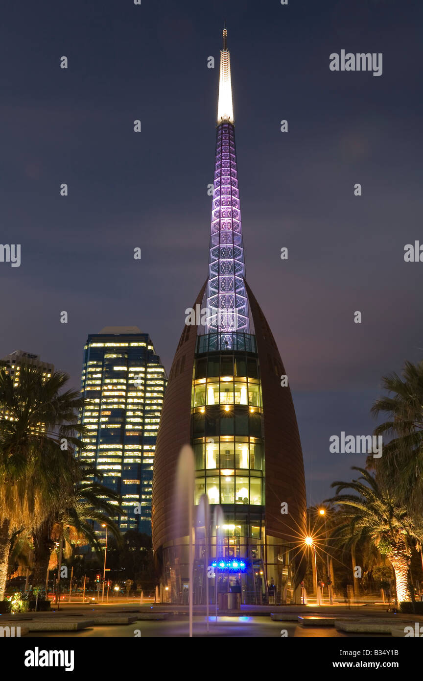 night time view of the bell tower in the city of perth western stock photo 19163351 alamy. Black Bedroom Furniture Sets. Home Design Ideas