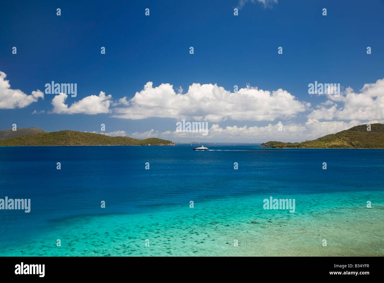 British Virgin Islands as seen from Annaberg Ruins area on the caribbean island of St John in the US Virgin Islands - Stock Image