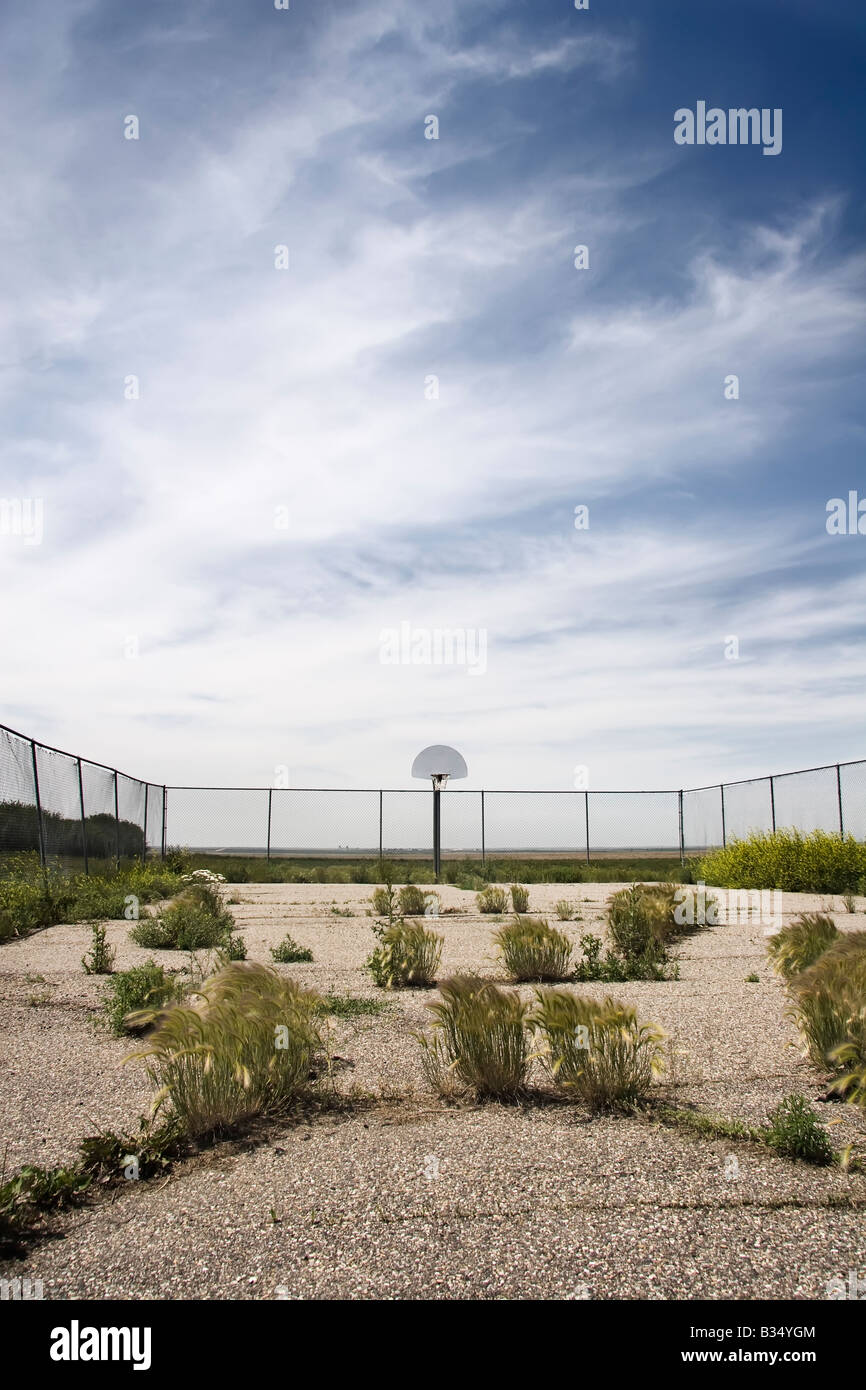 old basketball court with weeds, basketball photo superimposed in sky - Stock Image