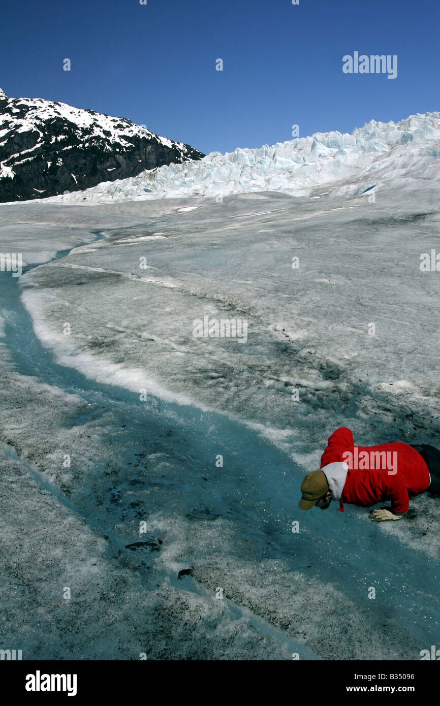 Melt water from the Mendenhall Glacier - Stock Image