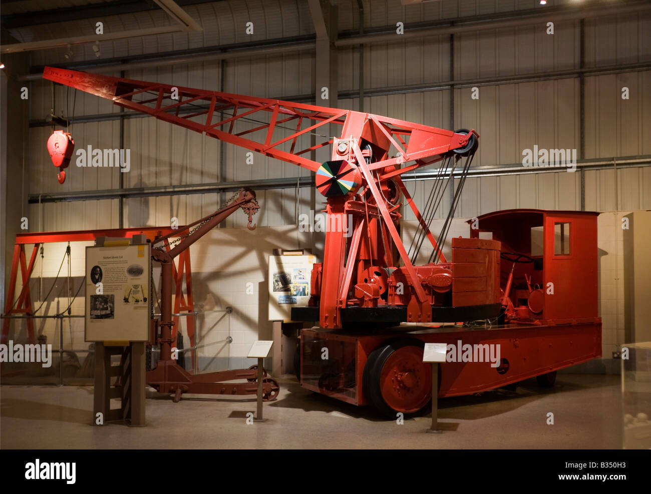 Mighty Morris Crane, at Snibston Discovery Park, Coalville, Leicester. Former coal mine - Stock Image