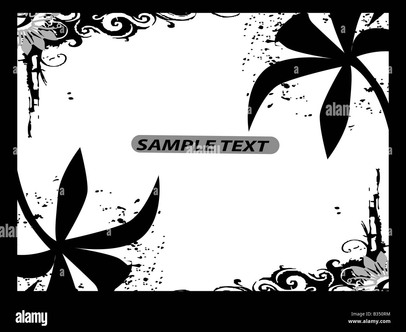floral border with swirls and text template stock photo 19164760