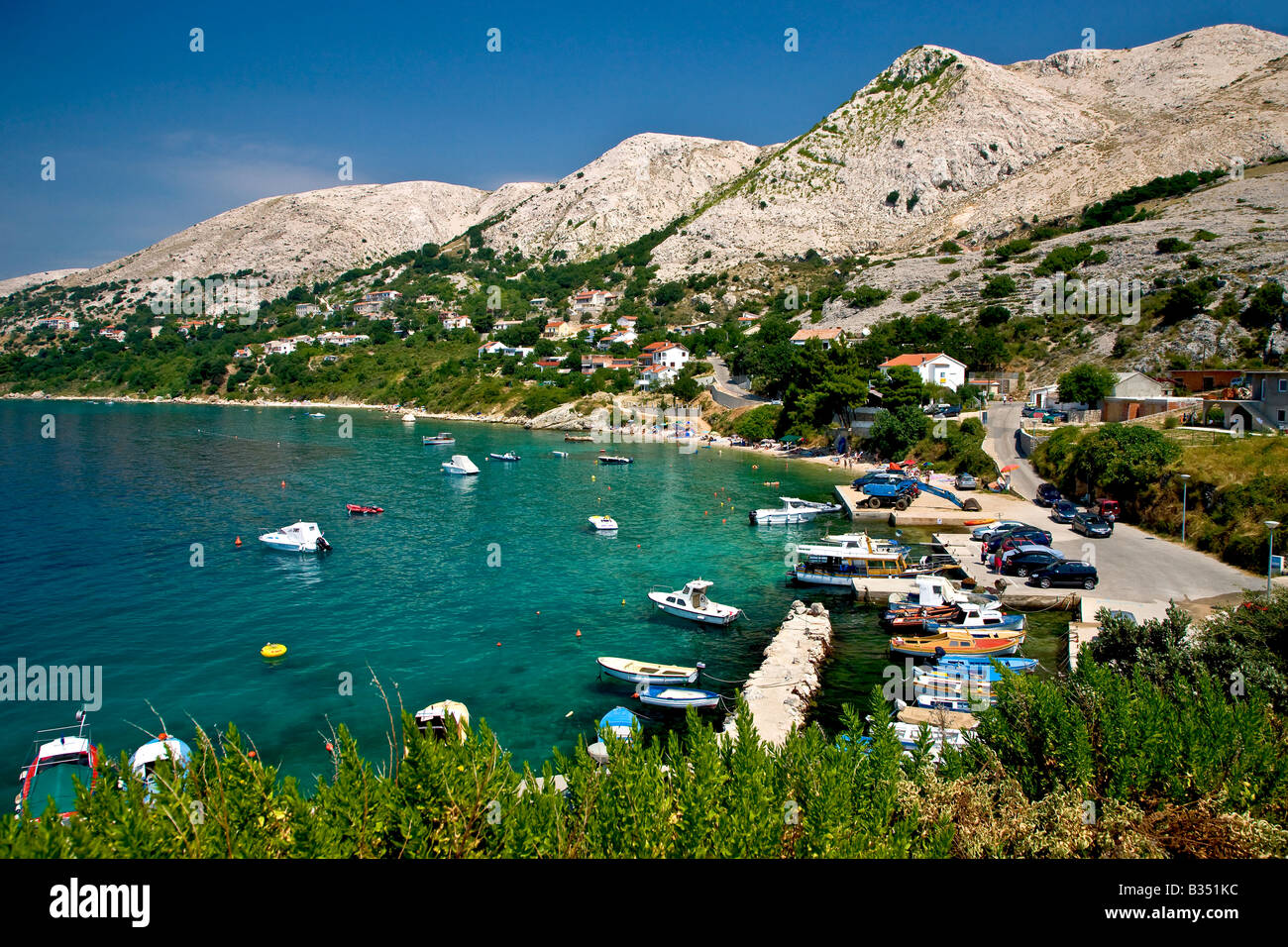 Stara Baska bay at the isle of Krk in Croatia - Stock Image