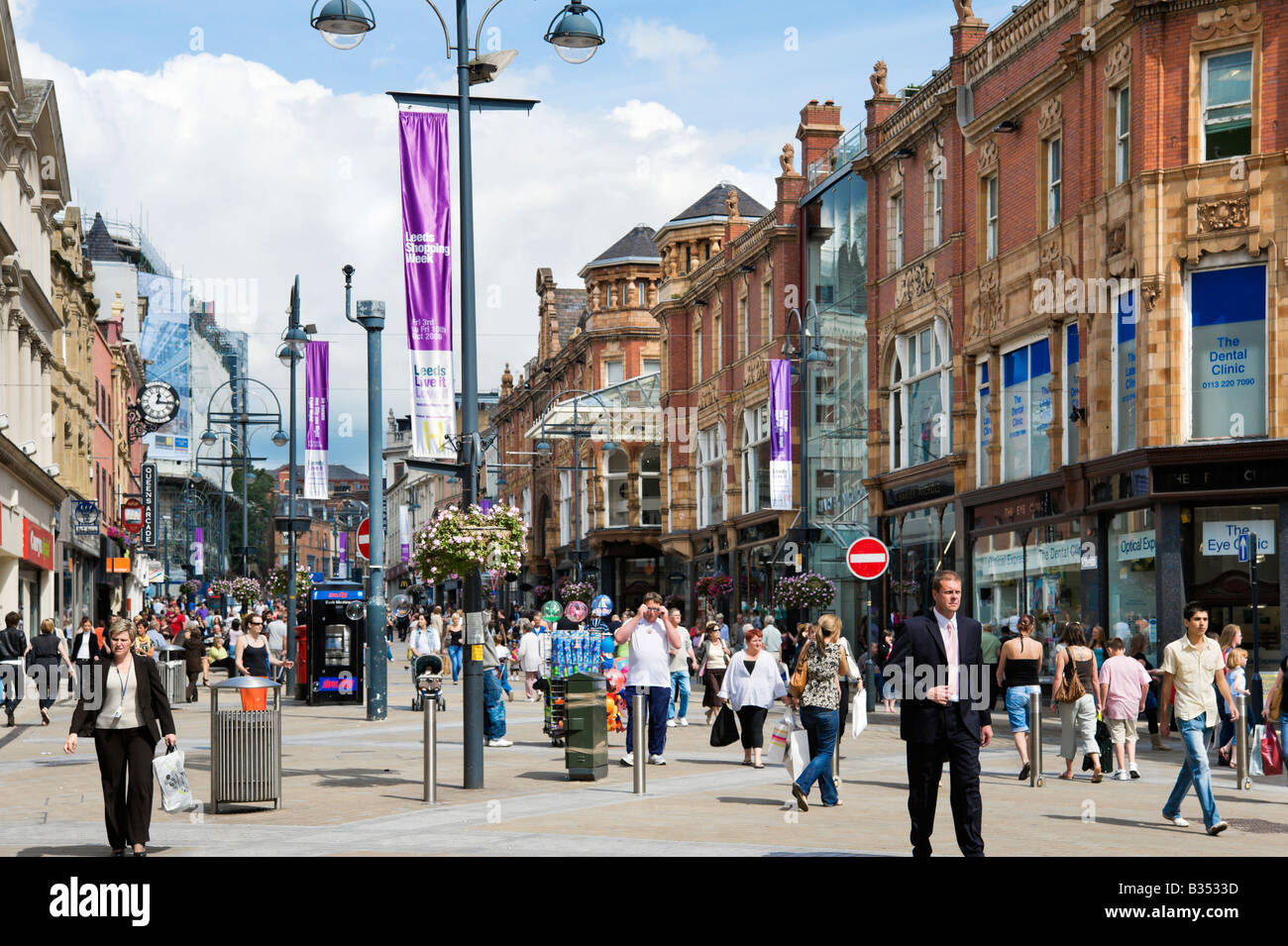 Briggate (the main shopping street in the city centre), Leeds, West Yorkshire, England - Stock Image