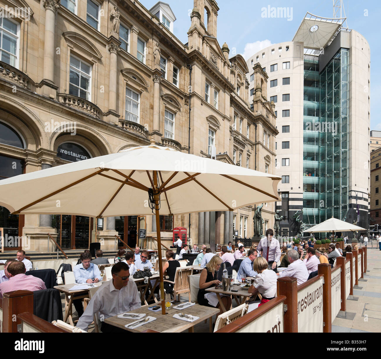 The Restaurant Bar and Grill in the Old Post Office on a Friday lunchtime, City Square, Leeds, West Yorkshire, England - Stock Image