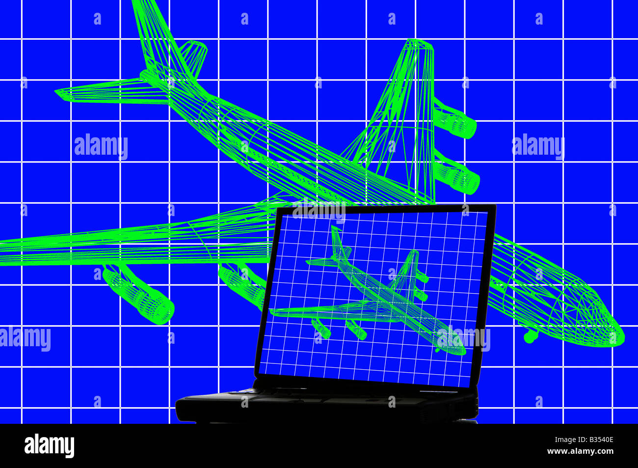 CAD engineering aeronautical wire frame image of jet