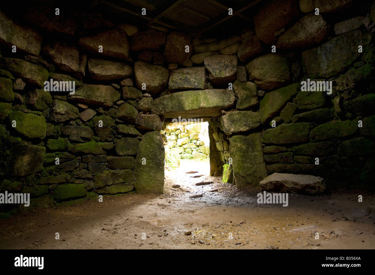 Carn Euny Stone Age village underground round chamber near Sancreed West Penwith Cornwall England - Stock Image