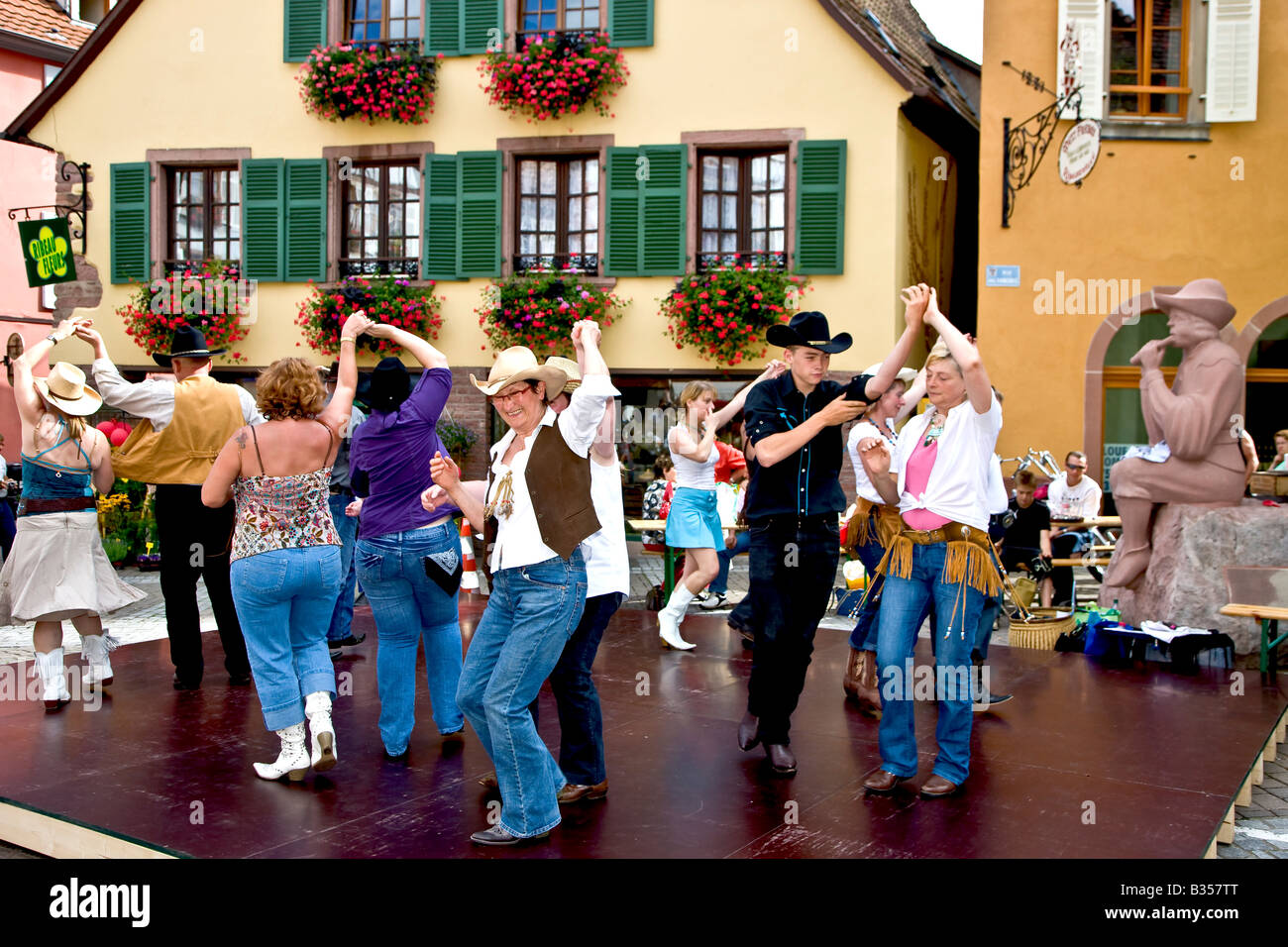 Folk dance in the street of Ribeauville Alsace France - Stock Image