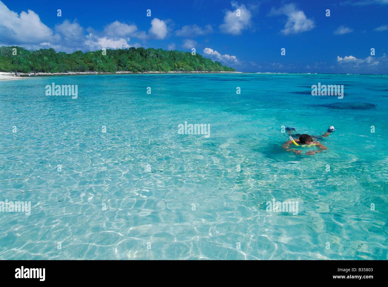 Snorkeling in the lagoon at Bikini Atoll Marshall Islands Micronesia - Stock Image