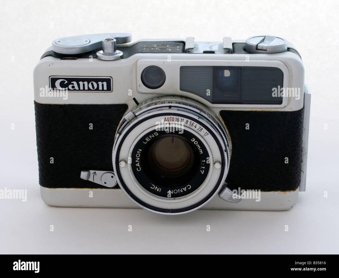 Old Used Half Frame Rangefinder Camera Canon Demi E17 Stock Photo