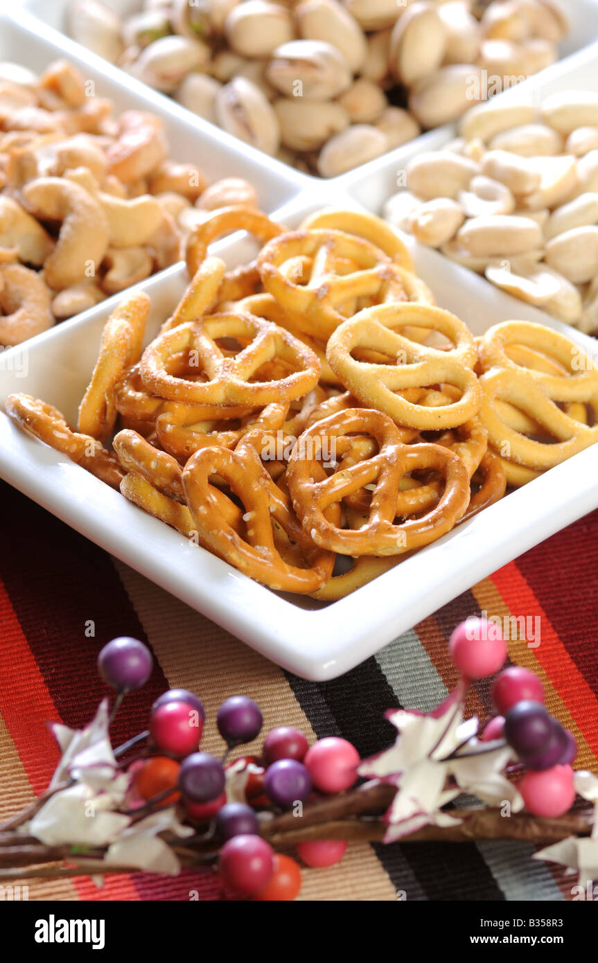 Christmas Party Snacks.A Plate Of Christmas Party Snacks Nuts Stock Photo 19171015