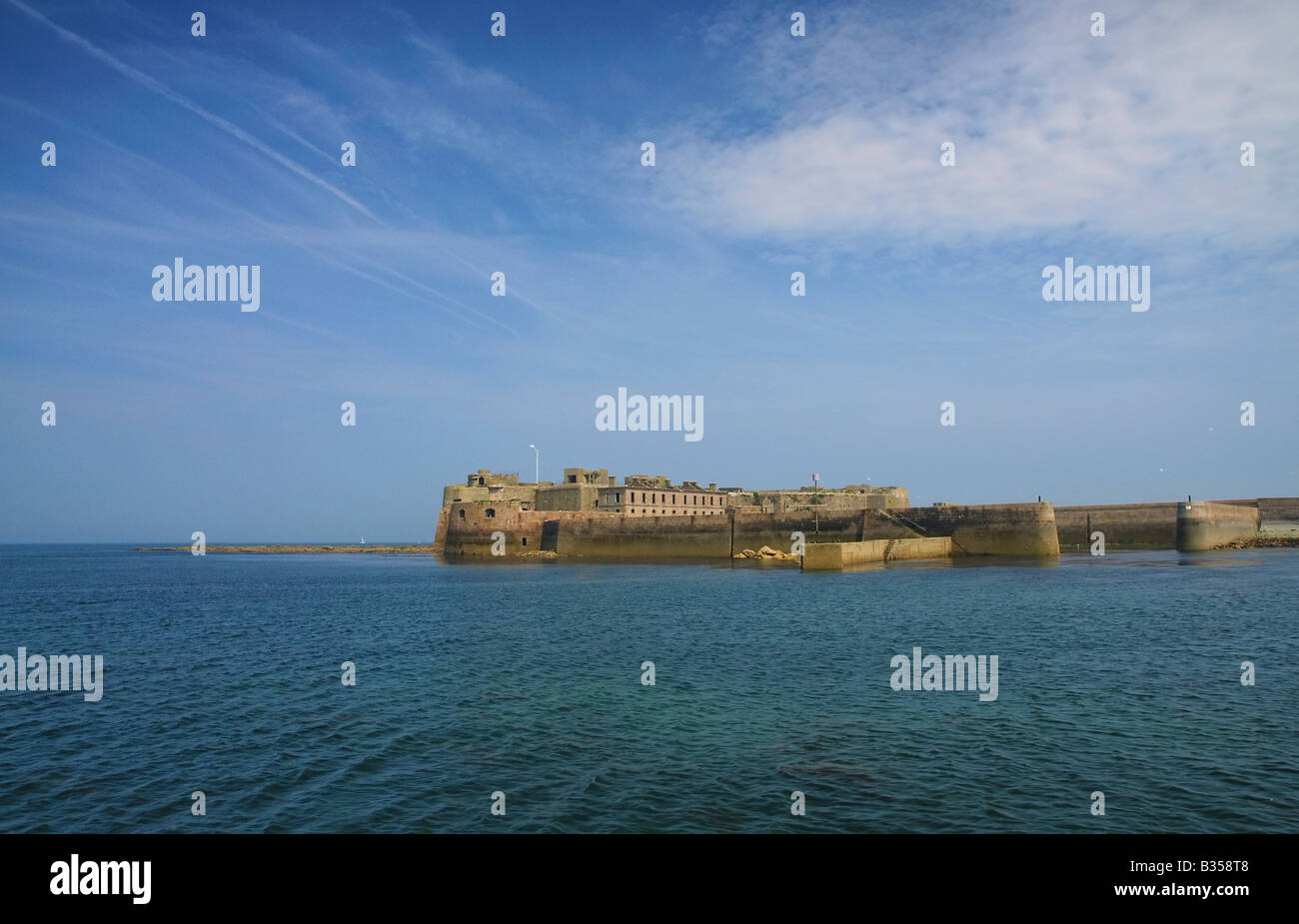 An ancient breakwater and fort in the Cherbourg port, france - Stock Image