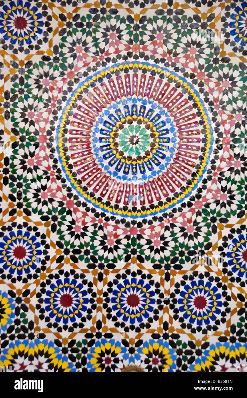 Zillij Moroccan ceramic mosaic tile decoration - Stock Image