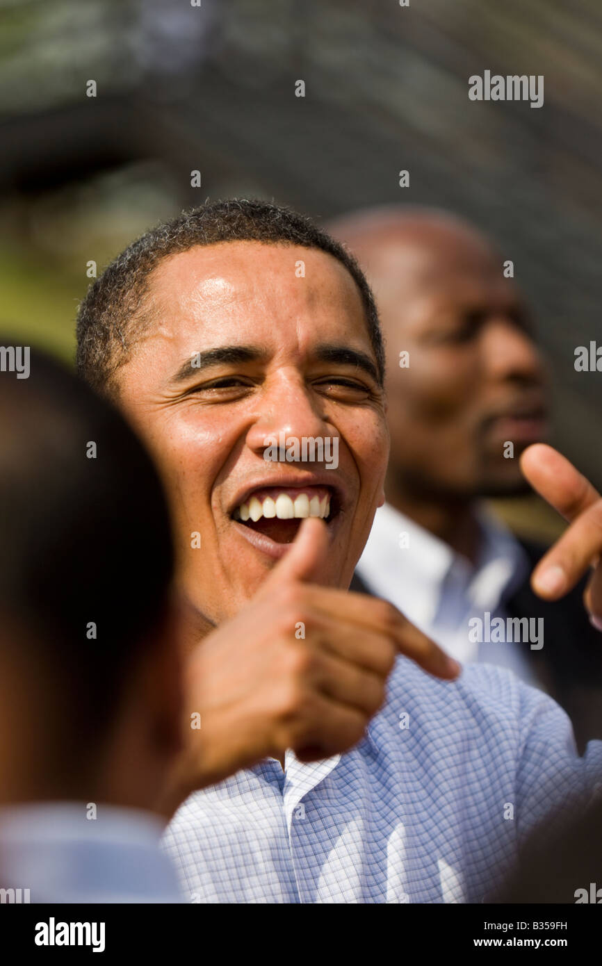 U. S. President Barack Obama greets supporters in Pennsylvania during the 2008 Presidential election. - Stock Image