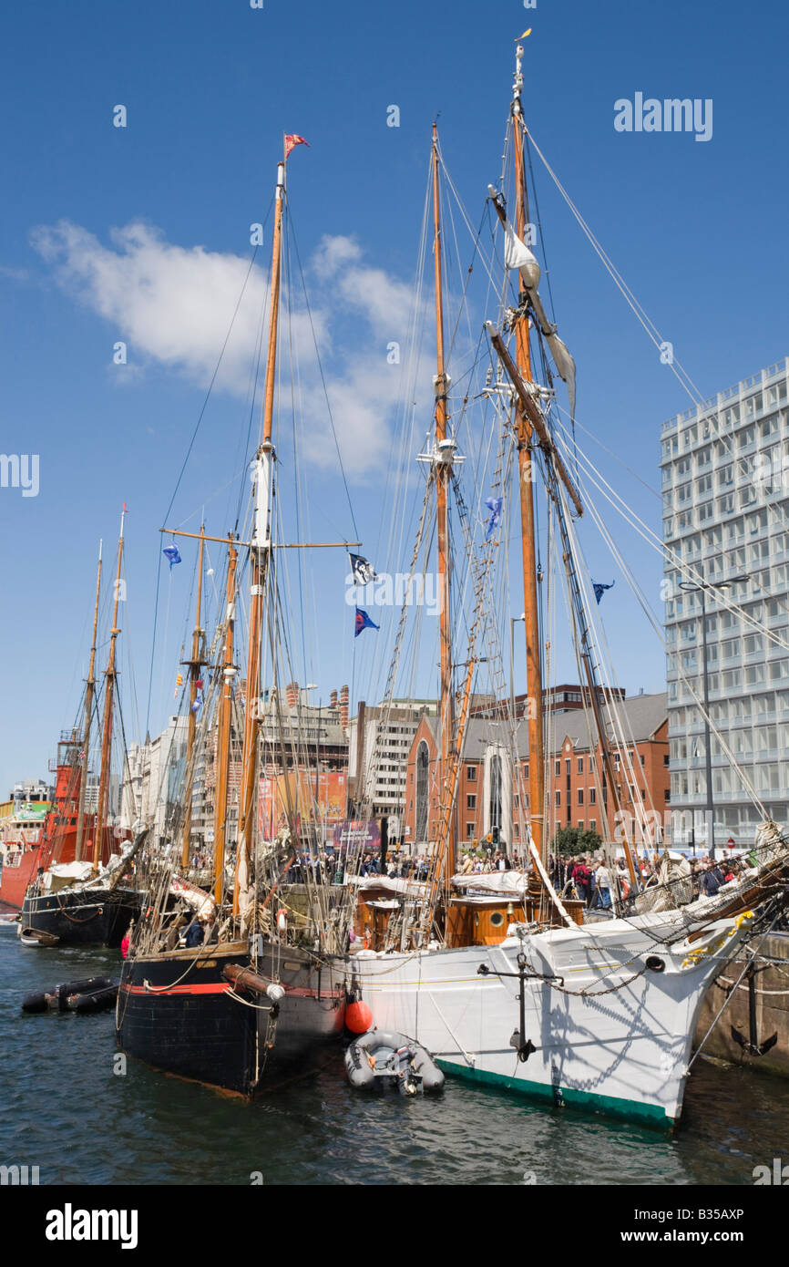 Liverpool Merseyside England UK July Tall Ships moored in Canning Dock on waterfront - Stock Image