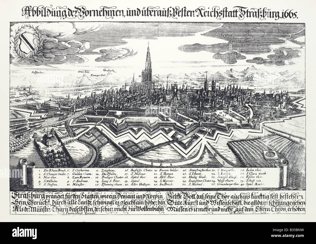 ANCIENT WOODCUT 17th Century SHOWING THE FORTIFIED TOWN OF STRASBOURG ALSACE FRANCE - Stock Image