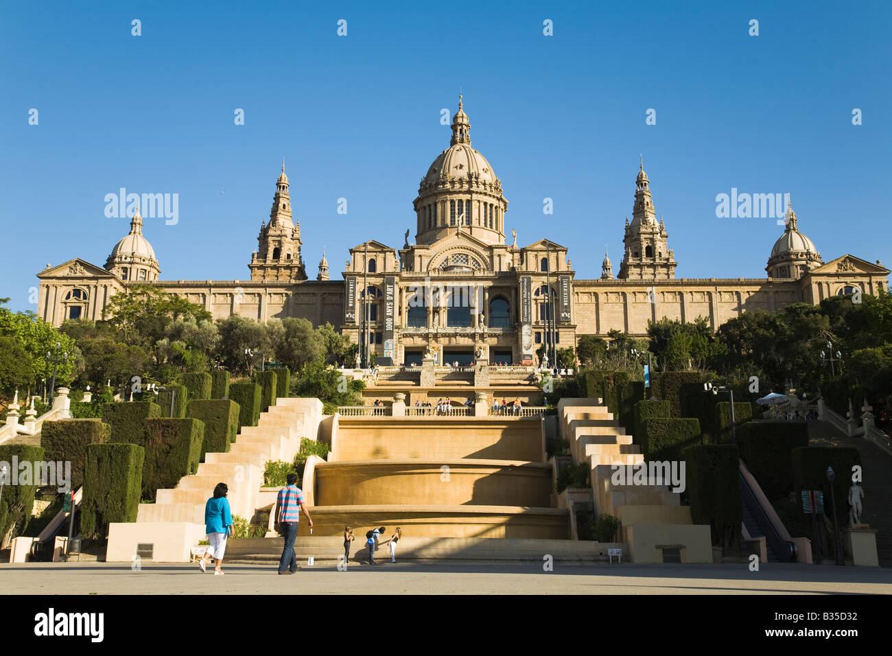 SPAIN Barcelona Exterior of Catalan Art Museum fountains turned off due to drought Museu Nacional d Arte de Catalunya - Stock Image