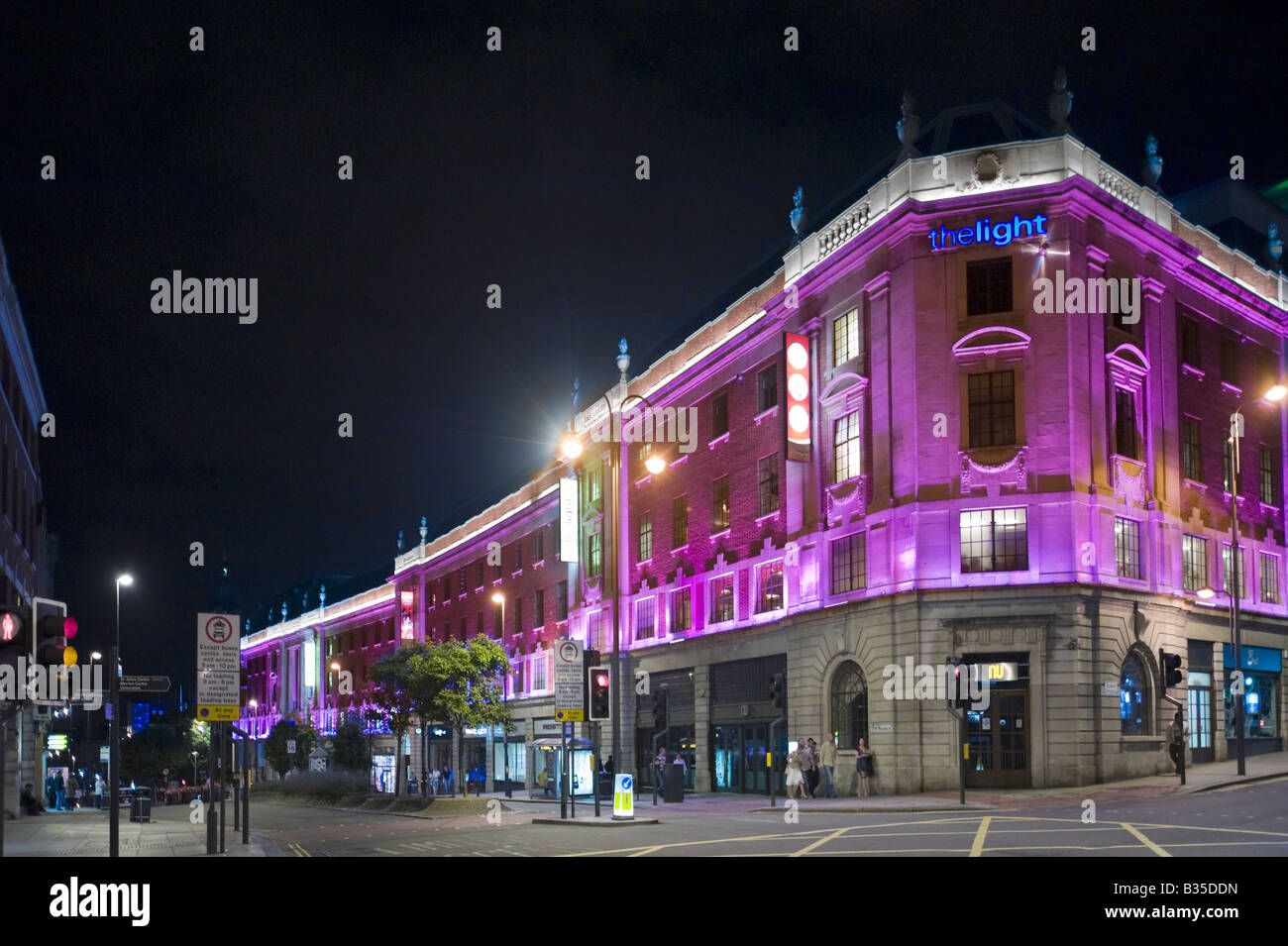The Light shopping centre at night, The Headrow, Leeds, West Yorkshire, England - Stock Image