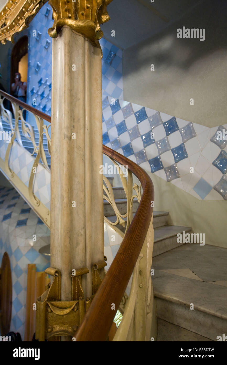 SPAIN Barcelona Curved stairway in Casa Batllo designed Antoni Gaudi architect Modernisme architecture on Block - Stock Image