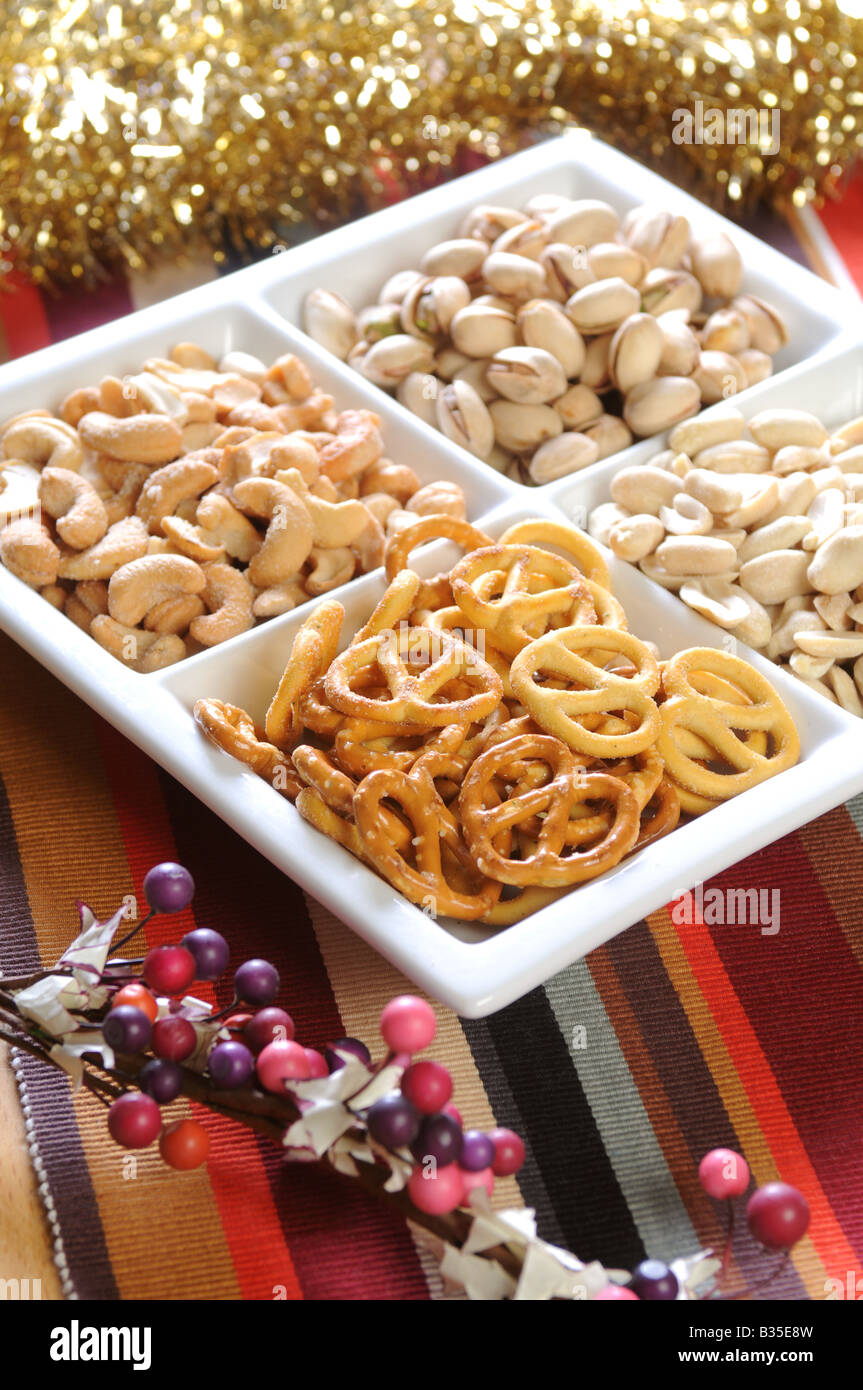 Christmas Party Snacks.A Plate Of Christmas Party Snacks Nuts Stock Photo 19175321