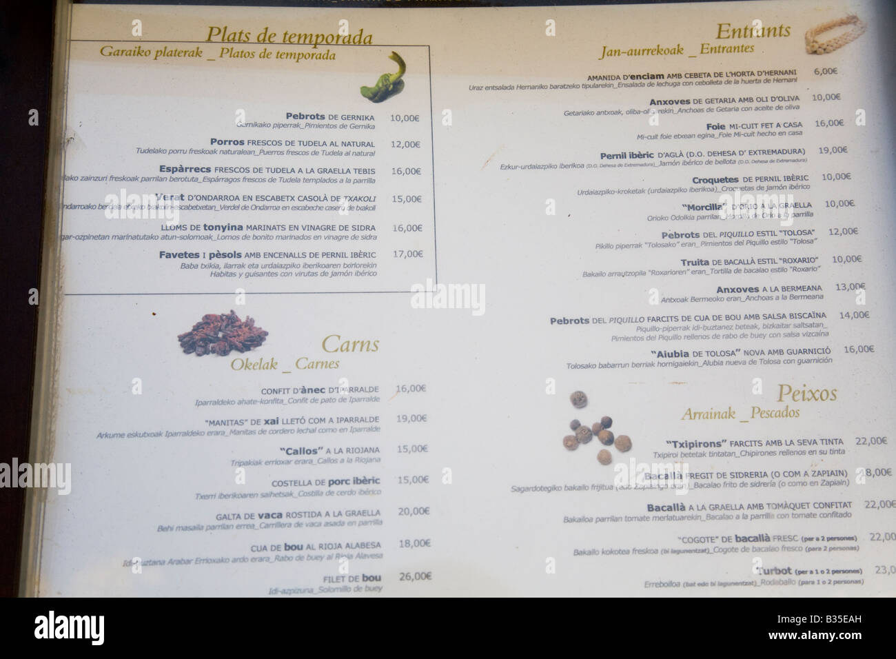 0c45c7d8 SPAIN Barcelona Restaurant menu with listings in Euskara Spanish and  Catalan languages prices in Euros Sagardi