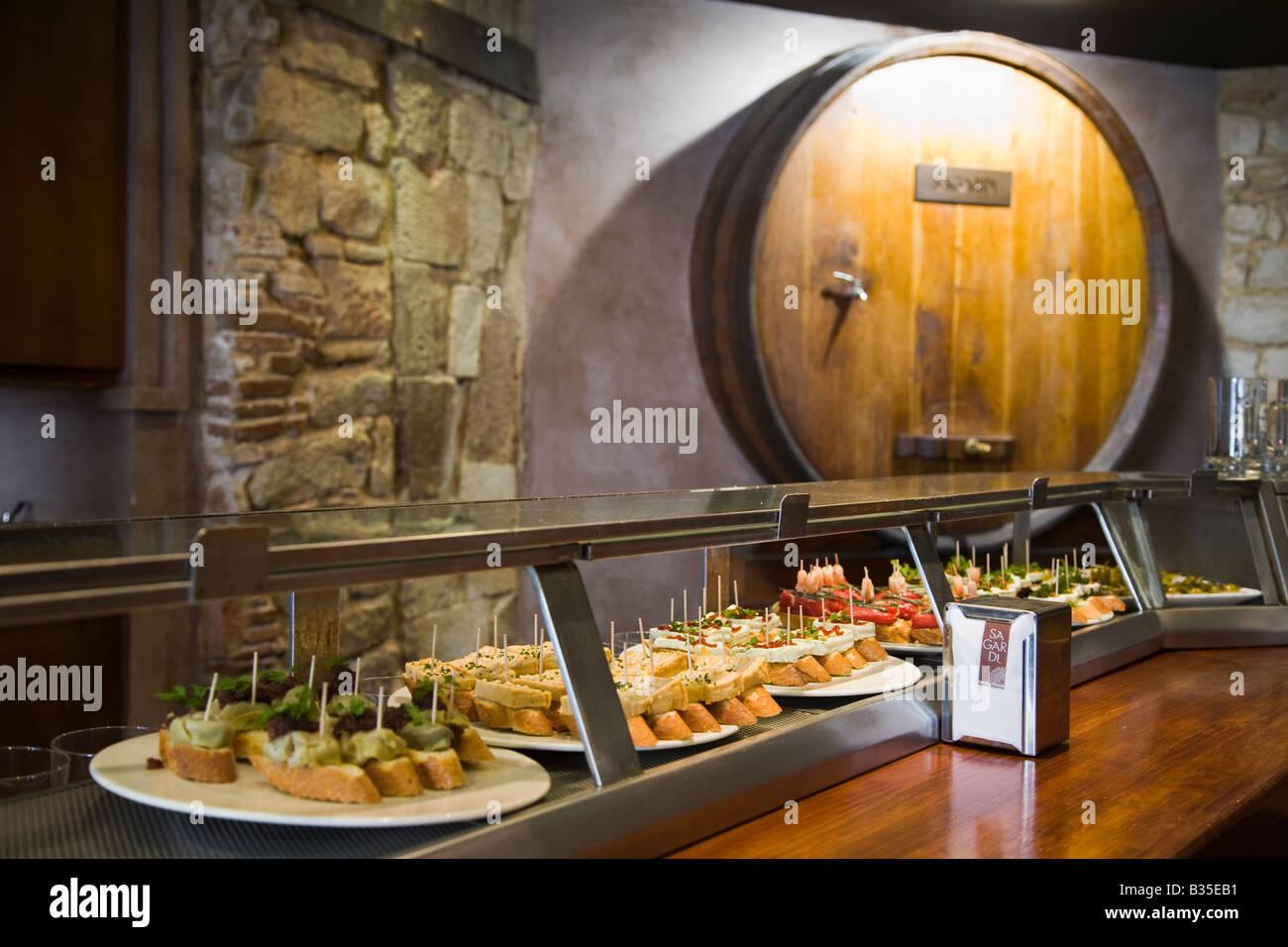SPAIN Barcelona Interior of Sagardi tapas bar restaurant Basque food served in Ribera district - Stock Image