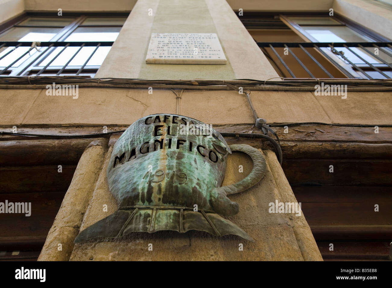 SPAIN Barcelona Giant copper coffee cup sculpture on exterior of Cafes el Magnifico store in Ribera District - Stock Image