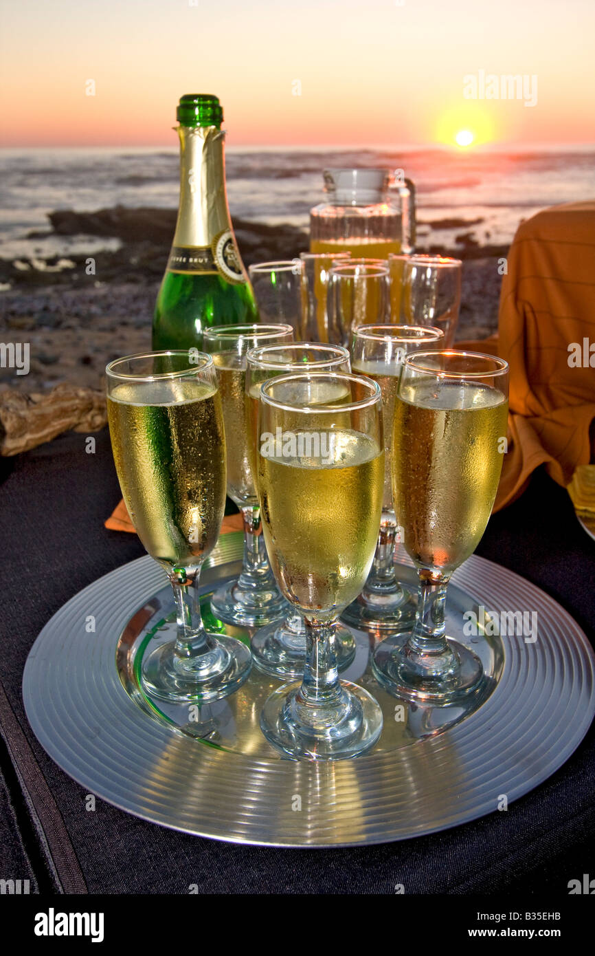 Sundown appetizers served on beach at Swakopmund Namibia by Abenteuer Afrika Safari - Stock Image