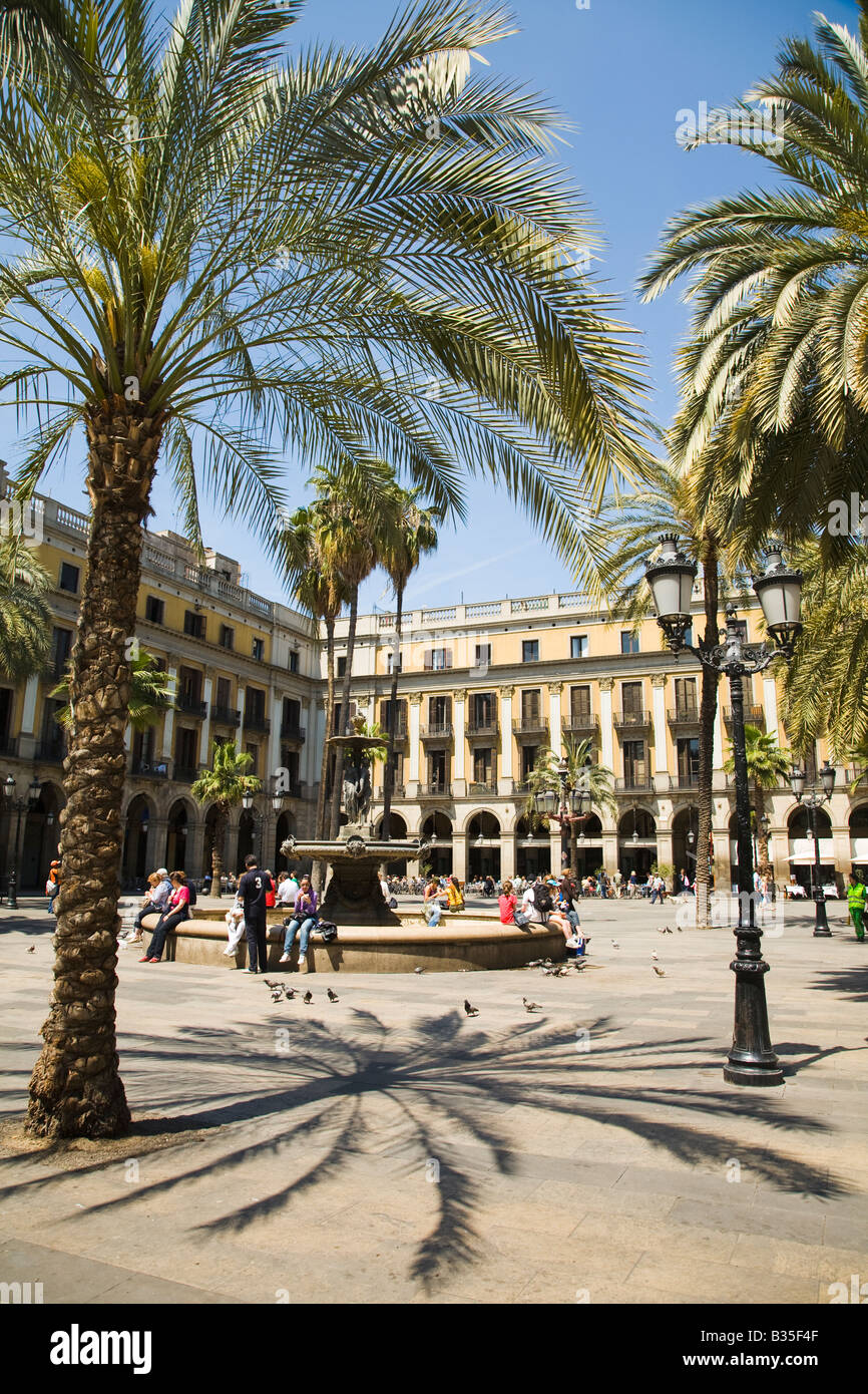 SPAIN Barcelona Palm trees and fountain in Placa Reial Neoclassical square plaza - Stock Image