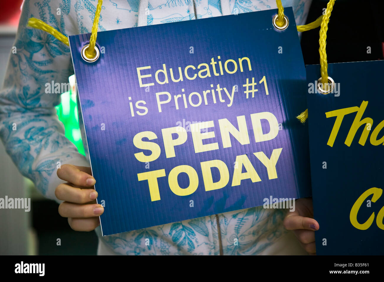 Spend on Education sign - Stock Image