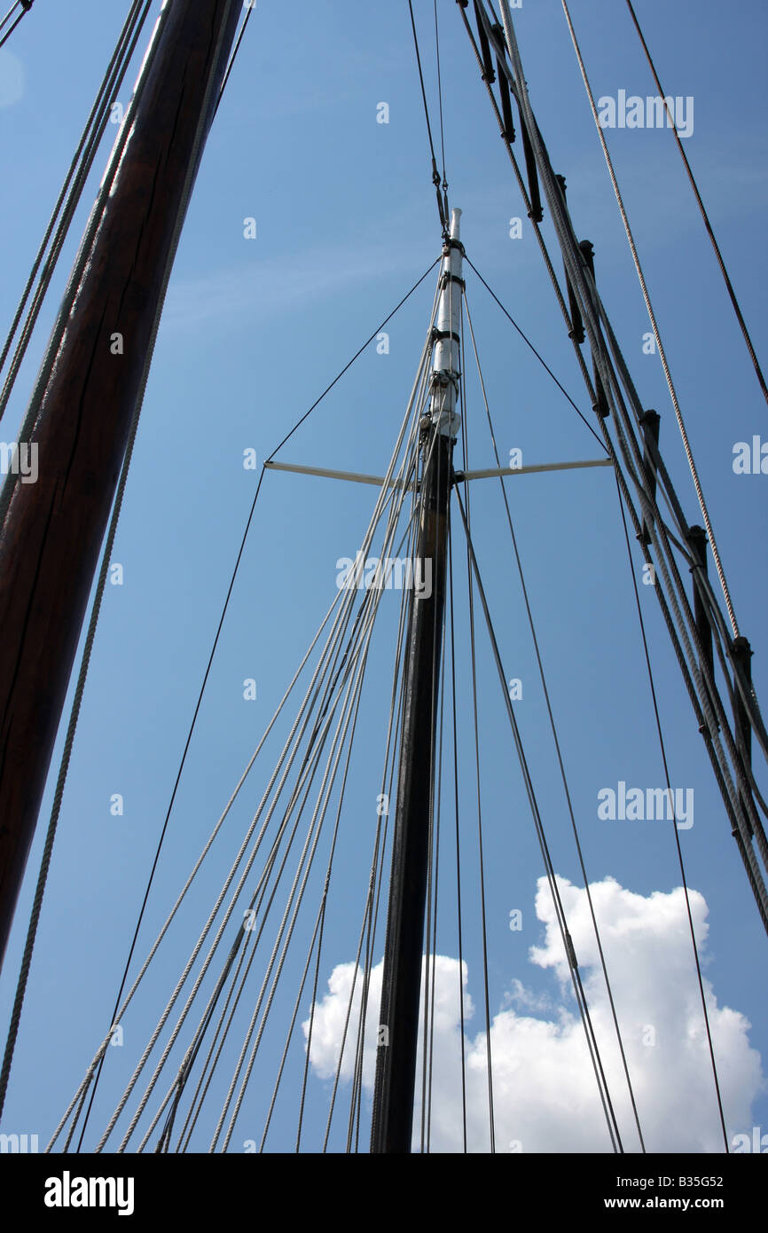 The two masts and rope rigging of the Red Witch ship at the Maritime Festiville in Port Washington Wisconsin - Stock Image