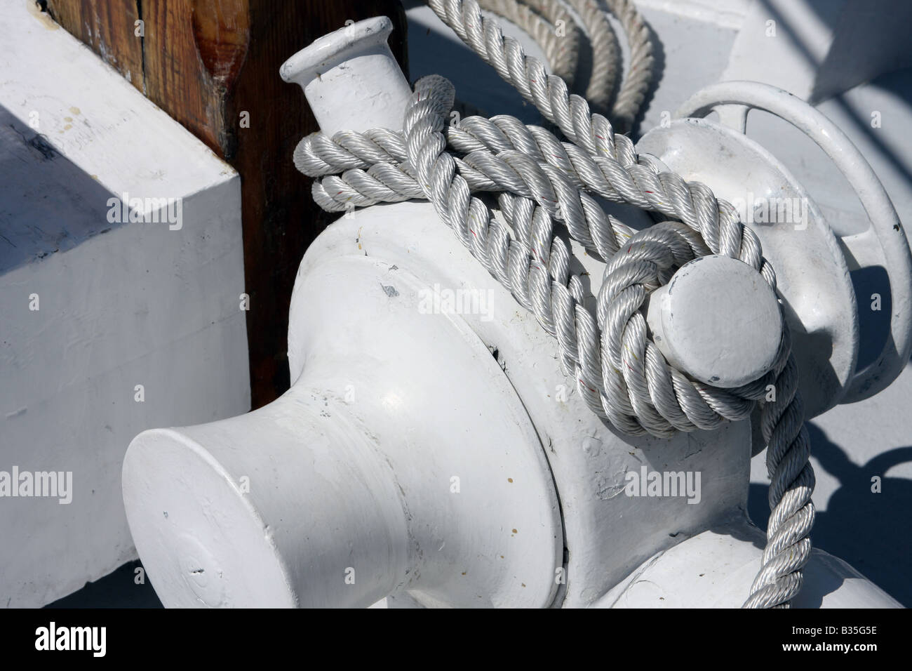 The rope rigging of the Red Witch ship at the Maritime Festiville in Port Washington Wisconsin - Stock Image