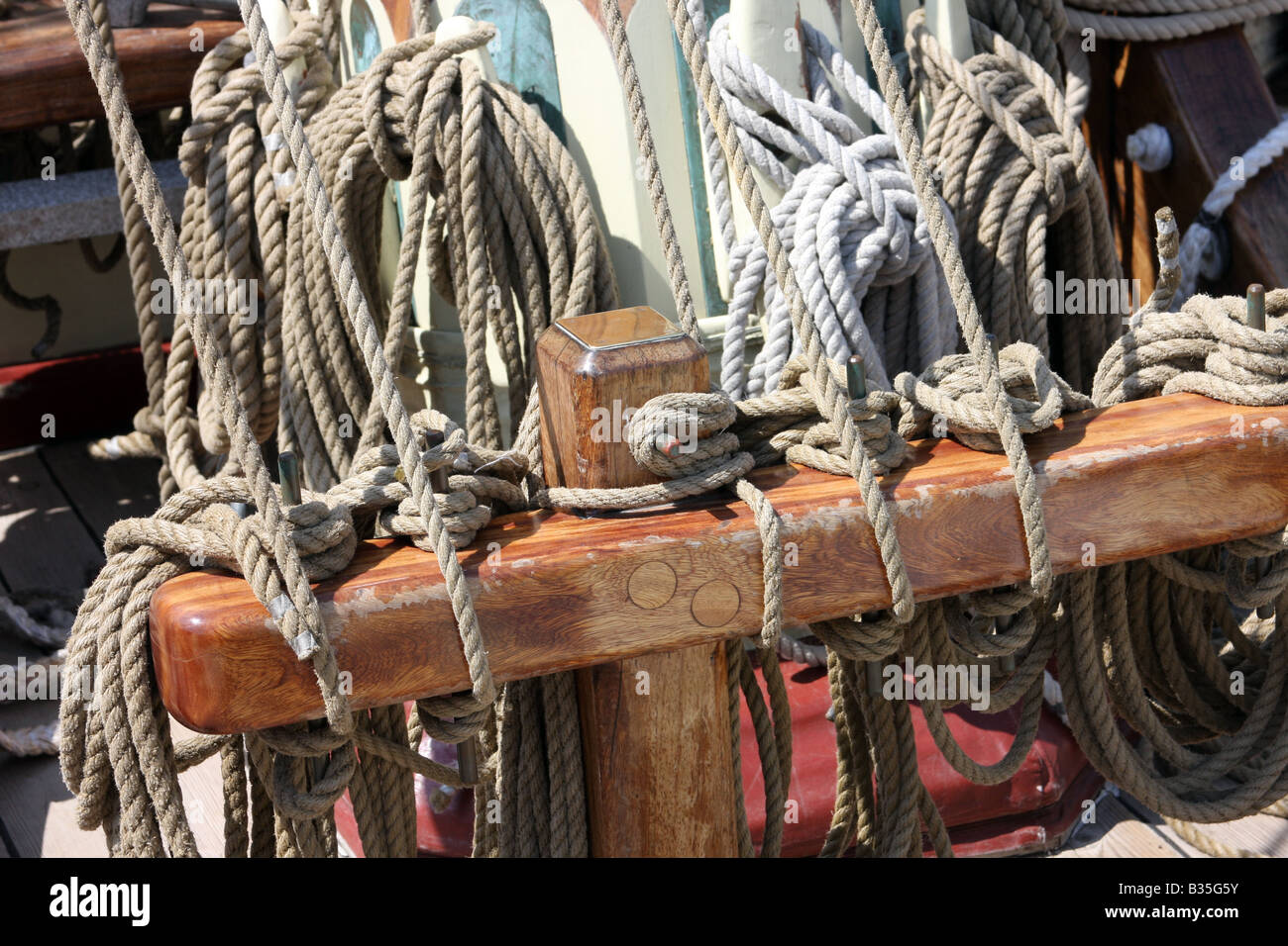 The rope rigging of the Pride of Baltimore ship at the Maritime Festiville in Port Washington Wisconsin - Stock Image