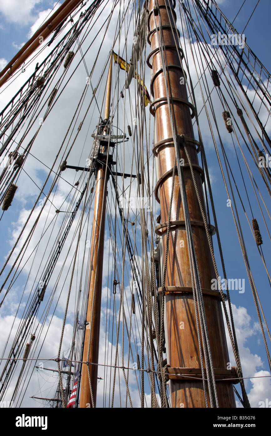 The two masts and rigging of the Pride of Baltimore ship at the Maritime Festiville in Port Washington Wisconsin - Stock Image