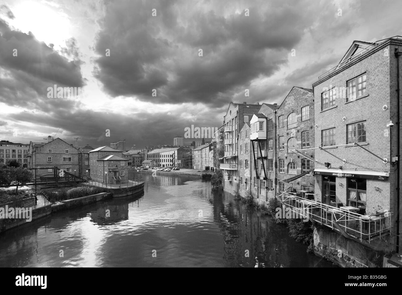 River Aire at Brewery Wharf, Leeds, West Yorkshire, England - Stock Image