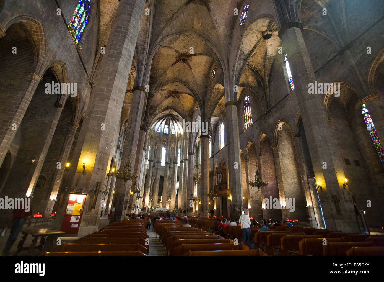 SPAIN Barcelona Visitors To Catalan Gothic Style Architecture Interior Of Church Santa Maria Del Mar