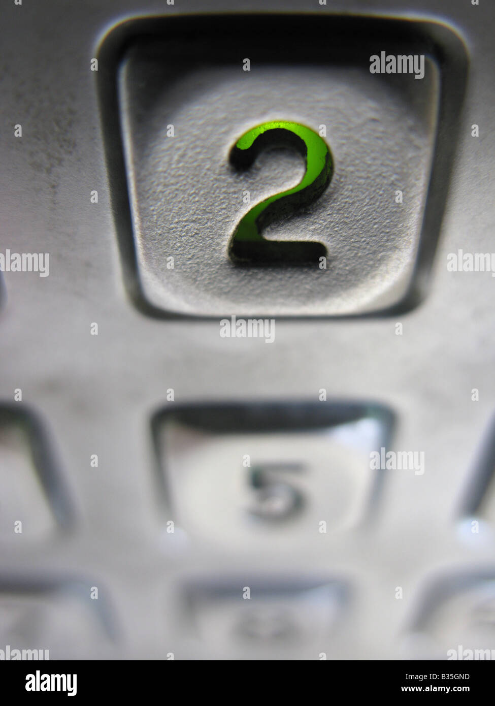 Number 2 two on a security system Stock Photo