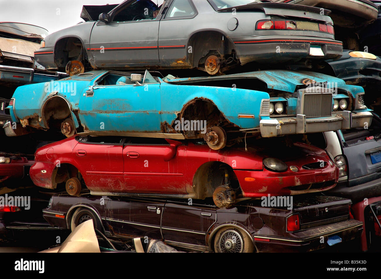 Stacked Junk Cars Stock Photo: 19179089 - Alamy