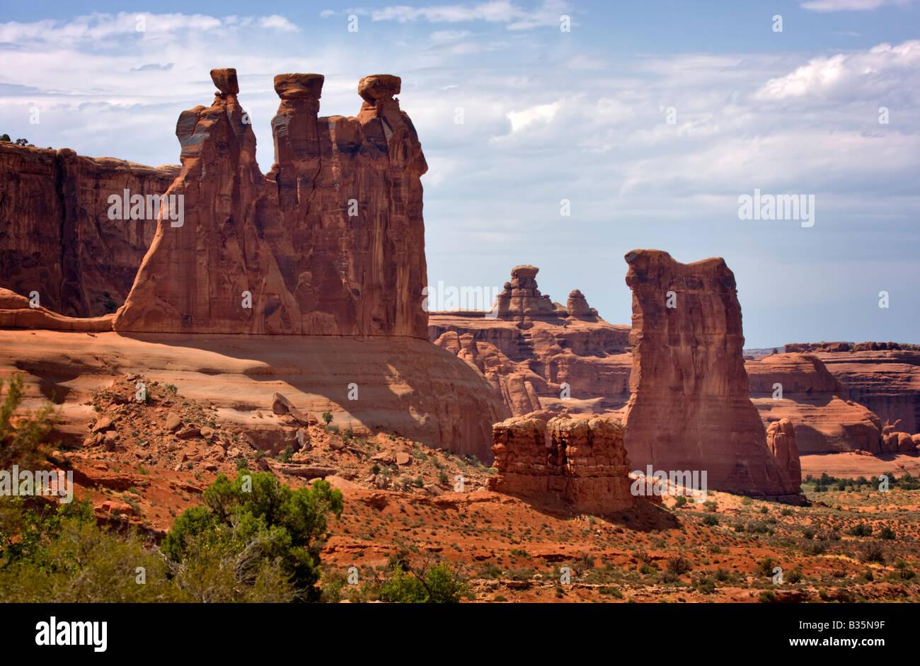 Three Gossips, Arches National Park, Utah - Stock Image