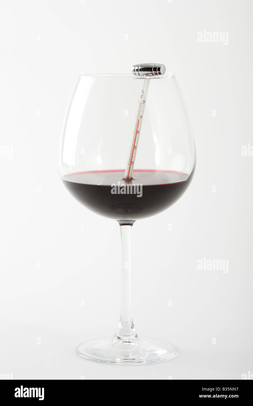 Thermometer in glass of red wine - Stock Image
