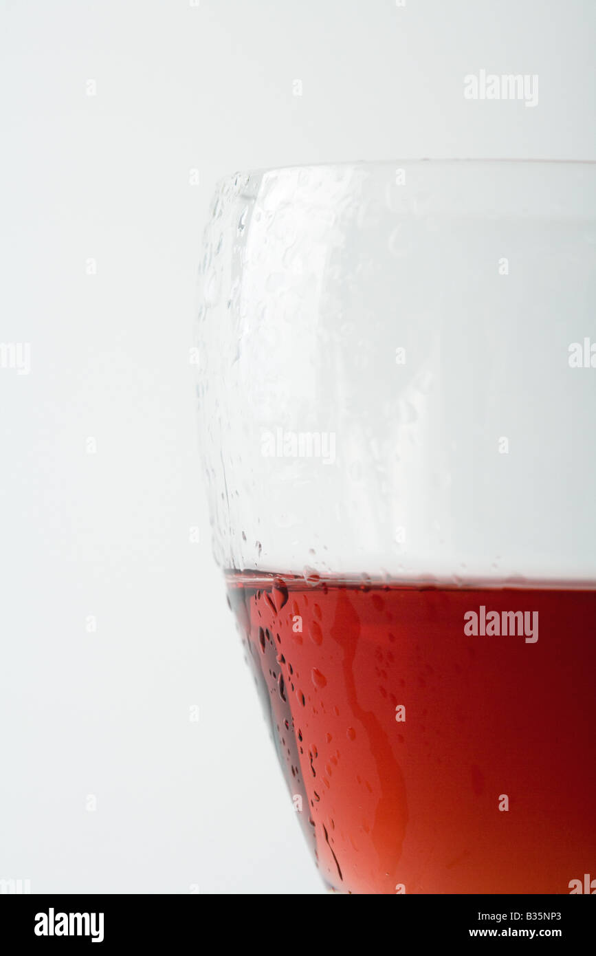 Glass of chilled rose wine, close-up - Stock Image