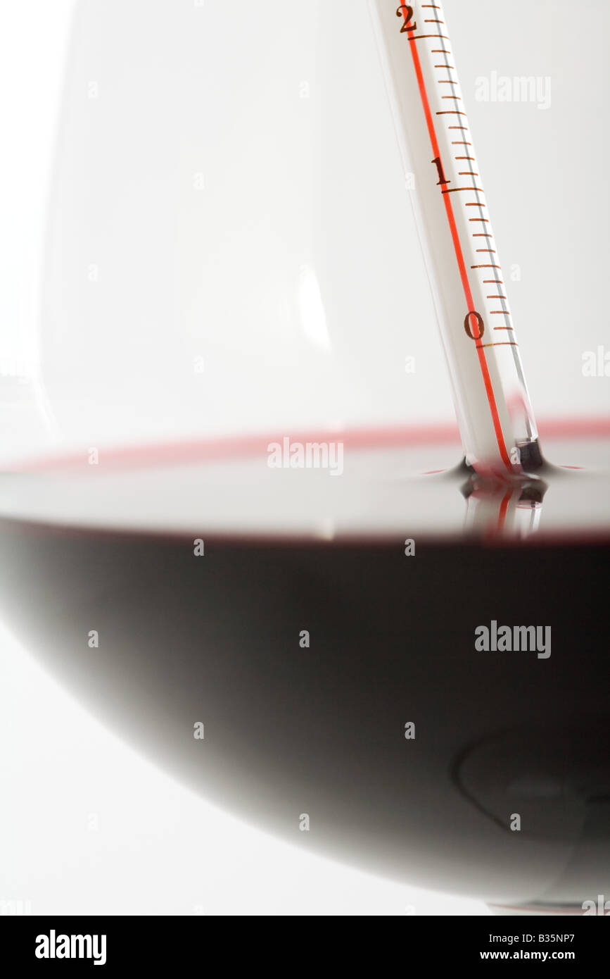 Thermometer in glass of red wine, extreme close-up - Stock Image