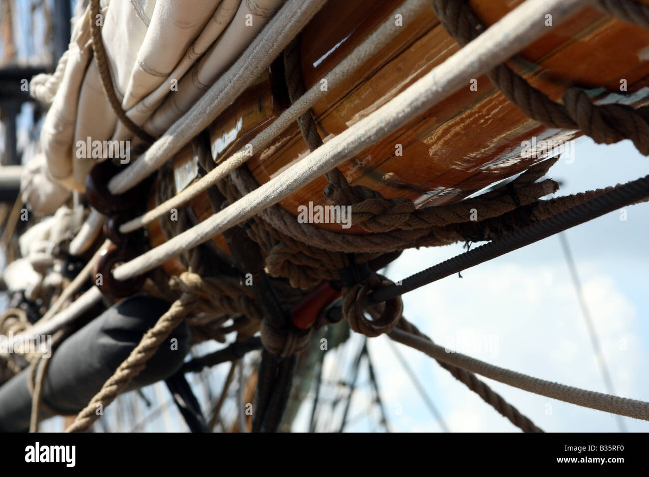 The sails and rigging on the Pride of the Baltimore Ship - Stock Image