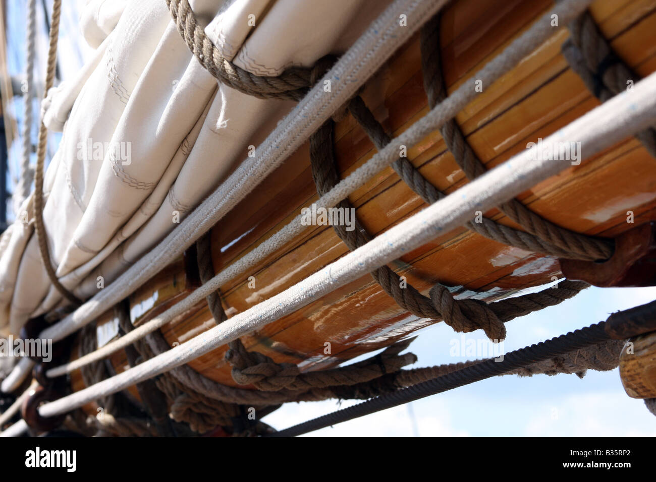 The sails on the Pride of the Baltimore Ship - Stock Image