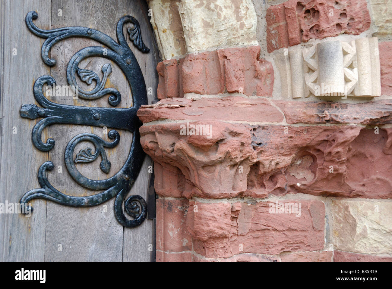 Door of St Magnus cathedral Kirkwall Orkney Scotland - Stock Image