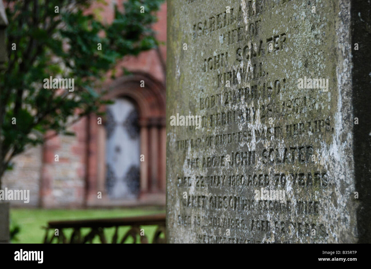 Grave stone St Magnus cathedral Kirkwall Orkney Scotland - Stock Image