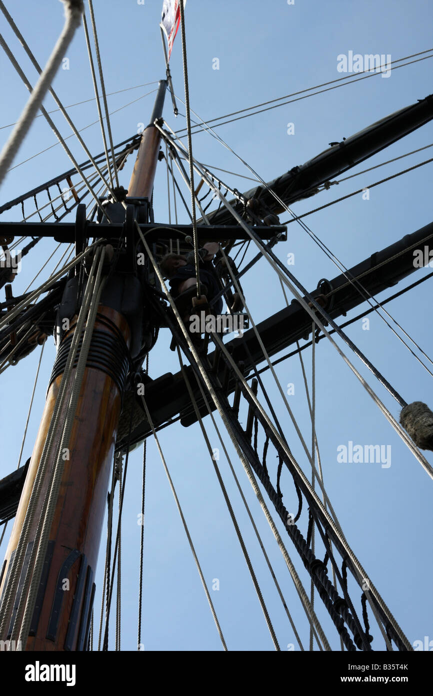 The mast of the Friendship Good Will Ship - Stock Image