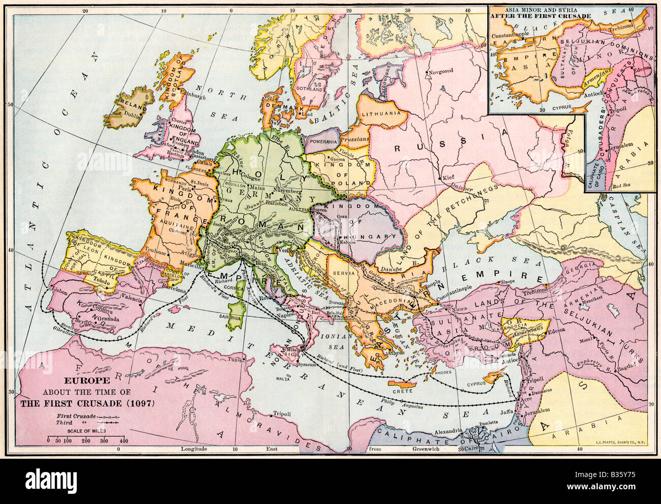 Picture of: Map Of Europe At The Time Of The First Crusade 1097 Ad Color Stock Photo Alamy