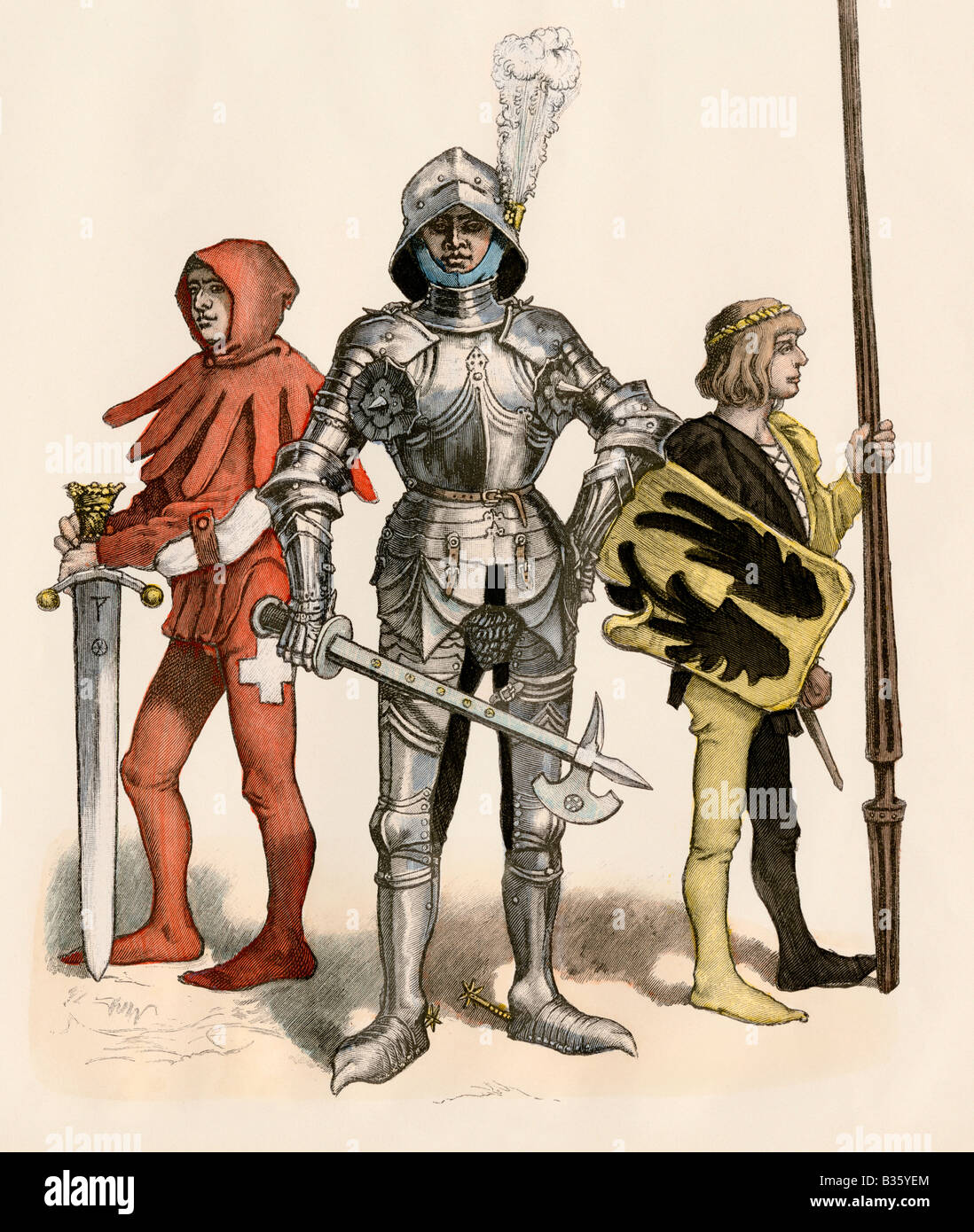 Swiss knight in field armor with his page and squire 1400s. Hand-colored print - Stock Image